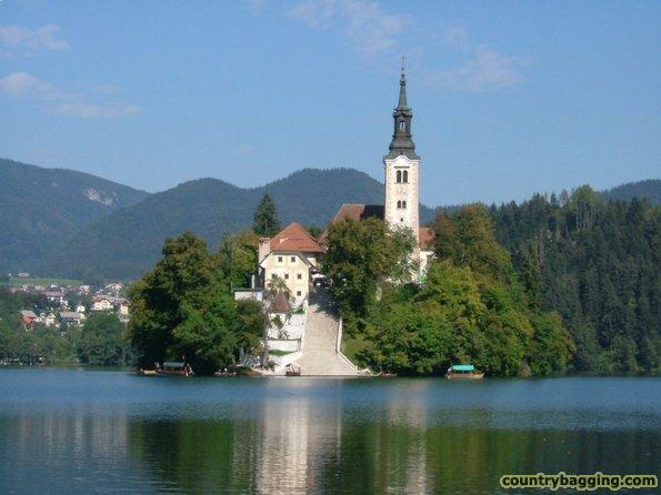 Church on Island at Lake Bled   - www.countrybagging.com